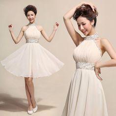 Sexy Short Homecoming Dresses,Halter Sleeves Chiffon Prom Dress