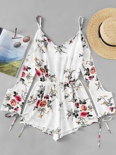 Shop Open Shoulder Floral Print Random Tie Cuff Romper at ROMWE, discover more fashion styles online. Simple Summer Outfits, Summer Fashion Outfits, Fashion Wear, Cute Teen Outfits, Outfits For Teens, Trendy Outfits, Trendy Dresses, Cute Dresses, Fashion Illustration Dresses