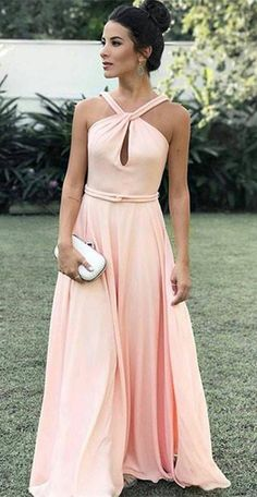 pink long prom dress, 2018 prom dress, pink chiffon long prom dress, evening dress formal dress party dress dancing dress