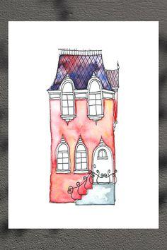 Pink House 8 1/4 x 11 3/4'' Art Print on Etsy, $14.64