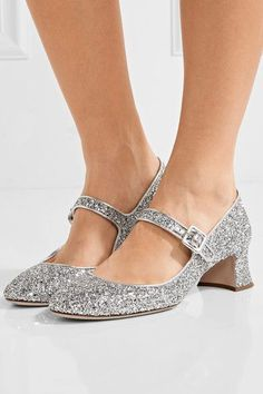 Miu Miu - Glittered Leather Pumps - Silver - IT35.5