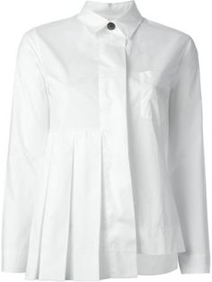 pleated detail asymmetric shirt, , by Marni, SS16
