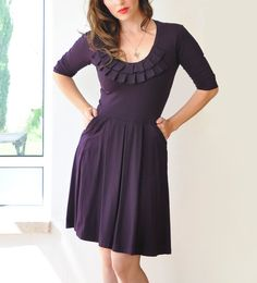 Purple Bridesmaid Dress With 3/4 Sleeves/ Cocktail / by Lirola