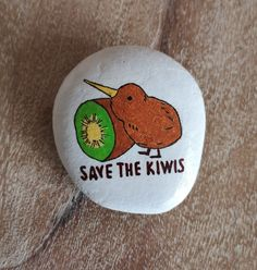 Save The Kiwis [Created: February 14, 2021]   1 of 3 Kiwi painted rocks inspired by the design of AllissaTinley from redbubble.com   February 20, 2021: Hidden on the Circular Walk at Otari-Wilton Bush, Wellington, New Zealand. February 14, Rock Painting, Kiwi, Painted Rocks, Inspired, Create, Inspiration, Collection, Design