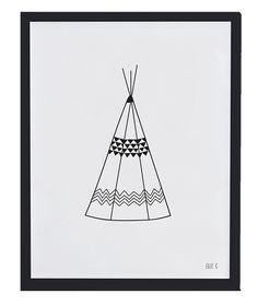 lilipinso<p>Affiche noir et blanc teepee, le chic du noir associ