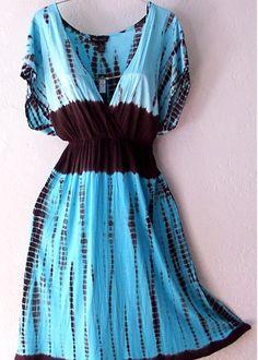 Aqua Blue White Tie-Dye Boho Swimsuit Cover-Up Tunic Top-Dress~16/18/14/XL    US $38.99