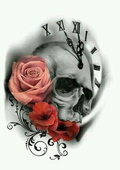 Resultado de imagem para beautiful skull tattoos for women Kunst Tattoos, Tatuajes Tattoos, Neue Tattoos, Bild Tattoos, Tattoo Drawings, Tattos, Skull Tattoo Design, Skull Tattoos, Body Art Tattoos