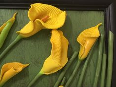 Yellow Calla Lilies, Polymer Clay, Contemporary Art by Victoria Raymond