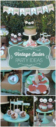 What a gorgeous vintage Easter party with amazing desserts! See more party planning ideas at CatchMyParty.com!