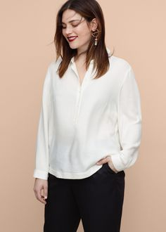 Flowy textured blouse -  Plus sizes | Violeta by MANGO USA