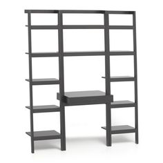 Space-saving, clean-looking Sawyer uses an ingenious leaning, modular design to creatively solve storage solutions throughout the home.  Solid mahogany and mahogany veneer desk cantilevers a shelf-like writing surface with drawer from its ladder frame topped with two deep shelves.  Flanking bookcases have five deep shelves with thick shelf fronts.  Grey finish to the wood accentuates the group's architectural lines.