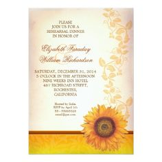 Sunflower Wedding Rehearsal Dinner elegant sunflower rehearsal dinner invitation