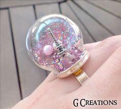 Eiffel Tower Globe Ring - Paris Snow Globe Glass Jewelry - Pink Glitter cute globe Ring - Glass Dome Romantic Ring - Waterless Terrarium