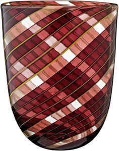 """Vase """"Striato"""" Barovier & Toso, Murano um 1954. Farbloses Glas mit braunviolettem und grüngelbem St"""