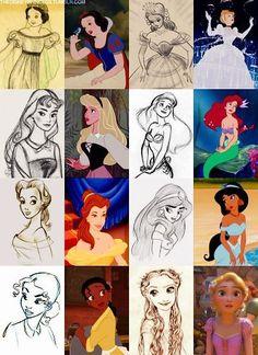 Disney princesses and their original drawn ideas