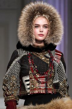 Luxe fur trims and heavy embellishment.