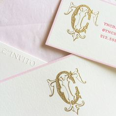 Monograms aren't just for wedding invitations! We love seeing them on personal stationery and calling cards like this pretty little duo, recently featured in the August issue of Town & Country! ‪#‎MonogramMonday‬