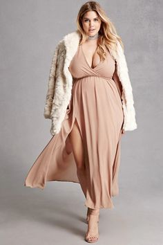 Forever 21+ - A sheer woven maxi dress featuring a surplice neckline, long sleeves with cuffs, an asymmetrical slit, an elasticized waist, and a self-tie sash belt. This is an independent brand and not a Forever 21 branded item.