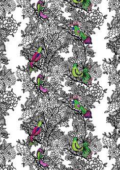 Vallila Carambola by Tanja Orsjoki Vallila Interior Finland Pretty Art, Print Patterns, Joy, Colours, Curtains, Texture, Interior, Fabric, Prints