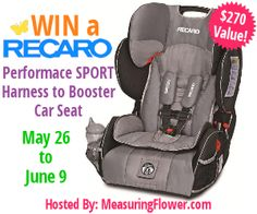 Win a RECARO Performance SPORT Harness to Booster Car Seat ARV $270 (US, 6/9)
