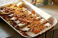 Sweet Potato and Black Bean Enchiladas - Vegan