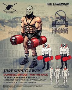 trap exercise: barbell shrugs lord humungus