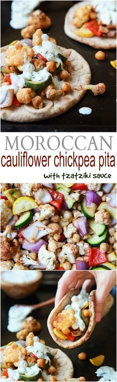 Moroccan Cauliflower Chickpea Pita ~ Done in 35 minutes, filled with spiced roasted vegetables & covered in Tzatziki sauce! A meal your family will love and perfect for meatless Monday! | joyfulhealthyeats.com