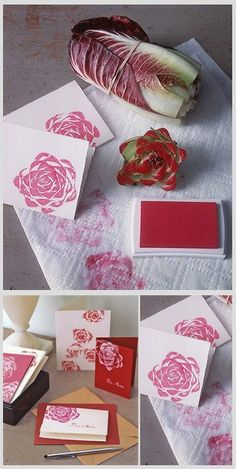 Cut the top off. Dip in ink. Make Rosy Stationery~