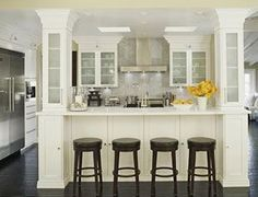 kitchen remodel ideas - may use columns like this if there is a load bearing wal. kitchen remodel ideas - may use columns like this if there is a load bearing wall Open Kitchen, Kitchen Redo, Living Room Kitchen, Kitchen Ideas, Living Rooms, 1960s Kitchen, Ranch Kitchen, Kitchen Island Room Divider, Kitchen Brick