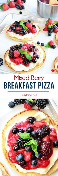 Mixed Berry Breakfast pizza tastes as good as it looks! It's impossible to resist the toasted flatbread crust, rich orange mascarpone layer and glossy berry topping. It's so convenient to prepare the night before and serve the next morning, or any time of day!  Full recipe at TidyMom.net