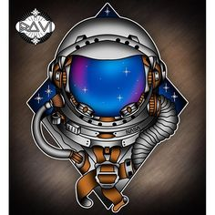 Awesome tattoo done in photoshop Neotraditional #space #astronaut #nasa