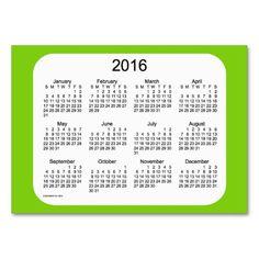 2016 Yellow Green Calendar by Janz Business Card