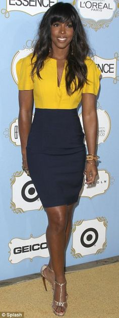 love the combination of the mustard and navy for Kelly Roland.