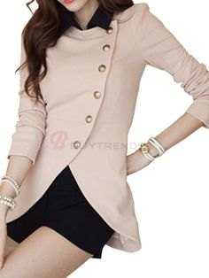 New Arrival Irregular Length Slim Blazer Pink on buytrends.com
