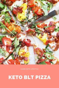 This recipe takes all the classic BLT ingredients and puts them on a keto pizza. The result is nothing short of amazing! This pizza is keto, low-carb, grain-free, and gluten-free! Pizza Sticks, California Pizza Kitchen, Banting Recipes, Paleo Recipes, Skinny Recipes, Low Carb Appetizers, Appetizer Recipes, Appetizer Ideas, Low Carb Pizza