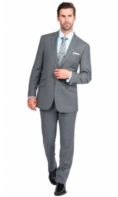Porto Stripe Slim Fit Suit - Grey