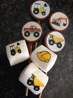 Chupetas de chocolate y Mashmellows con motivo de tractor,camiones...
