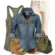 """Denim Ivory & Olive"" by stylesbyjoey on Polyvore"