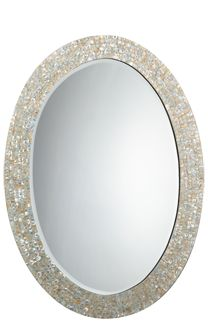 """Jamie Young Company Large Oval Mirror  MOTHER OF PEARL  DIMENSIONS: 43.5""""H 31.5""""W"""