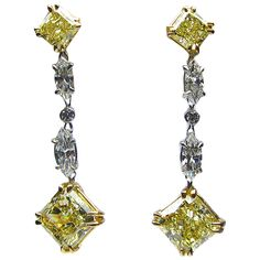 Fancy Yellow Radiant Cut Diamond Gold Drop Earrings | From a unique collection of vintage dangle earrings at https://www.1stdibs.com/jewelry/earrings/dangle-earrings/