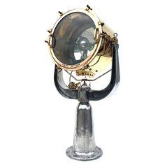 Floor Lamp - Rotherham British Aluminium Naval Searchlight English Other Aluminum, Brass, Bronze, Glass Industrial Floor Lamps, Industrial Furniture, Steel Bar, Chrome Plating, Vintage Industrial, Coventry England, Bulb, Bronze, Brass