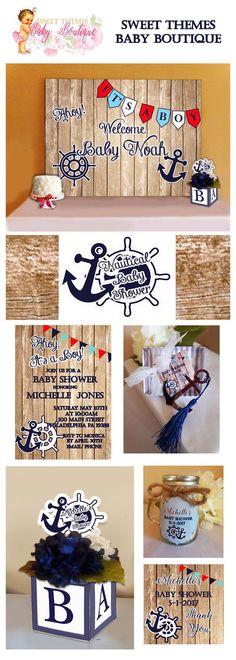 Nautical Baby Shower, Nautical Baby Shower Collection, Nautical Centerpieces, Nautical Invitations.