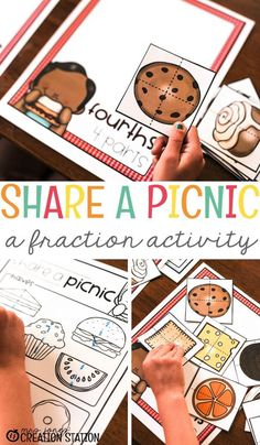 Teaching fractions is a difficult concept for students to grasp. Here are some little known ways to introduce fractions to your preschoolers, pre-k, and kindergarteners. This free printable share a picnic fraction activity is a great way to get started. #homeschool #classroom #fractions #teachingfractions #math #fractionactivity #kindergarten #preschoolactivities