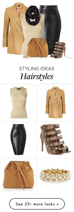 """Black & Brown"" by ksims-1 on Polyvore featuring Aquazzura, Topshop, Dolce&Gabbana, Chico's, Vanessa Bruno and R.J. Graziano"