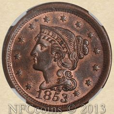 1853 Large Cent MS65 NGC RB, obverse.