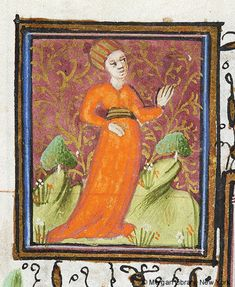 Zodiac Sign: Virgo -- Woman wearing hat stands in hilly landscape flanked by two trees. Margins decorated with border of foliate and floreate ornament, including strawberry. Medieval Manuscript, Medieval Art, Illuminated Manuscript, Virgo Art, Zodiac Signs Virgo, Virgo Women, Morgan Library, Hat Stands, Book Of Hours