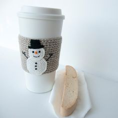 Cup Sleeve Coffee cozy crochet appliqued snowman by TableTopJewels, $17.50