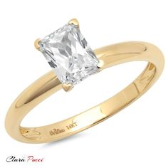 1.0 ct Simulated Emerald Cut Solitaire Engagement Wedding Ring 14k Yellow Gold Mother's Day Gift
