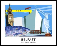 Belfast city : Railway poster style art print of Belfast, Northern Ireland's capital city. Stylish Art Deco print of Belfast City, Northern Ireland. Inspired by the vintage railway posters of the and Culture Day, Irish Culture, Culture Travel, Ireland Vacation, Ireland Travel, Belfast Northern Ireland, Galway Ireland, Cork Ireland, Art Deco Artwork