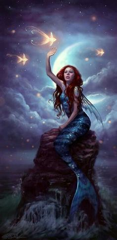 Little Mermaid Art Mermaid has been a mythical and legendary creature in culture for thousands of years. Today the artist continues the legends in various forms, esp. in fantasy art, Mind Blowing Examples of Mermaid Art Fantasy Mermaids, Mermaids And Mermen, Mermaids Exist, Real Mermaids, Magical Creatures, Sea Creatures, Fantasy World, Fantasy Art, Fantasy Races